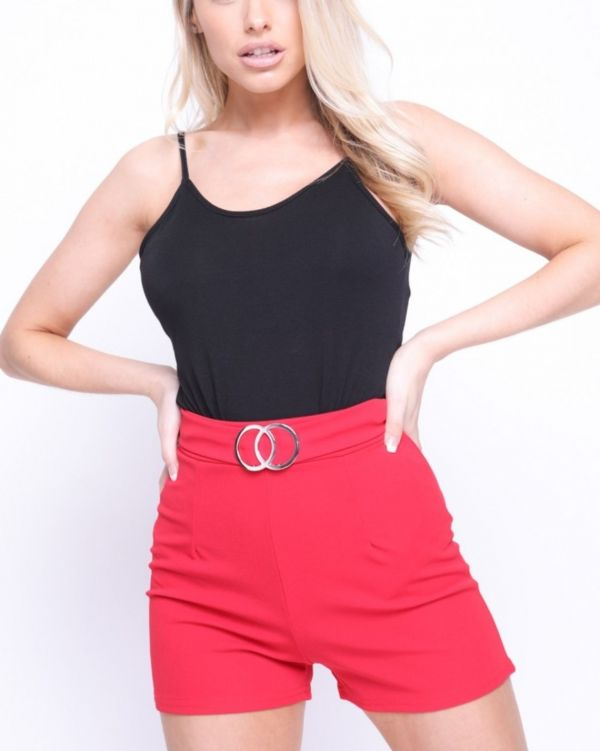 Nina Double Circle Belted Shorts In Red