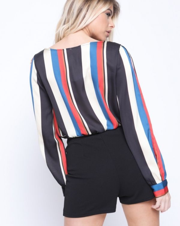 Myla Wrap Front Multi Stripe Crop Top In Red Hue