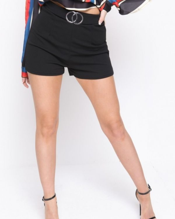 Nina Double Circle Belted Shorts In Black