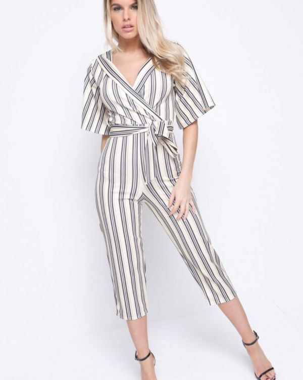 Gwendolyn Wrap Front Striped Culotte Jumpsuit In Stone
