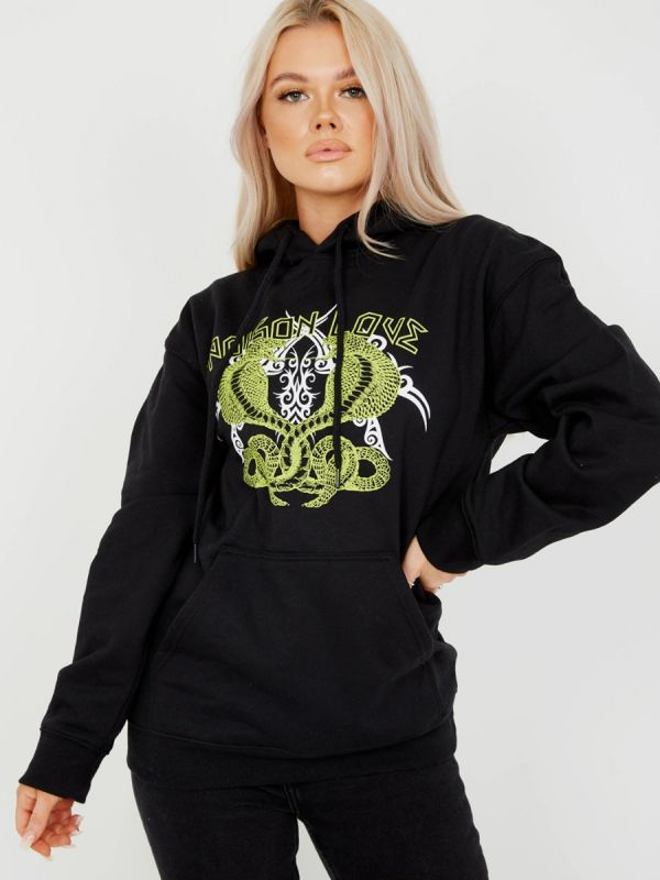 Claire Poison Love Graphic Fleeced Hoodie In Black