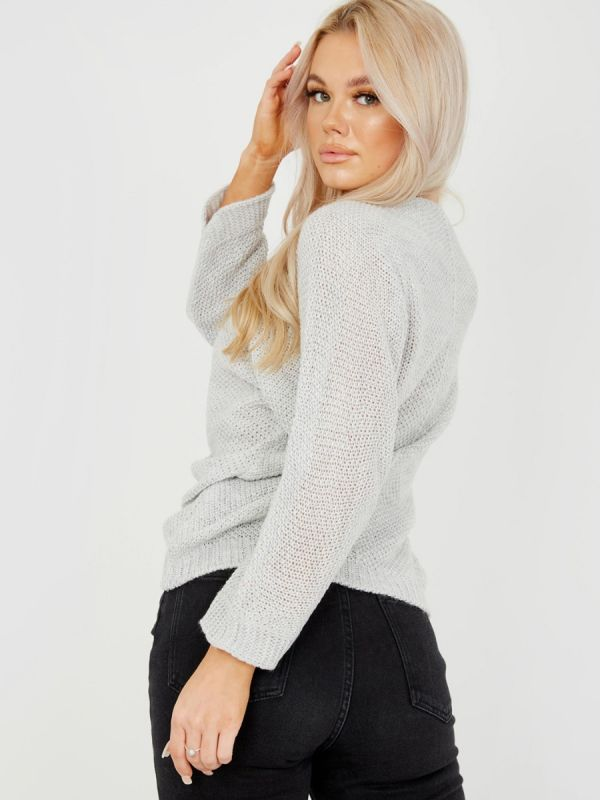 Ryan Ruched Drawstring Front Knitted Top In Grey