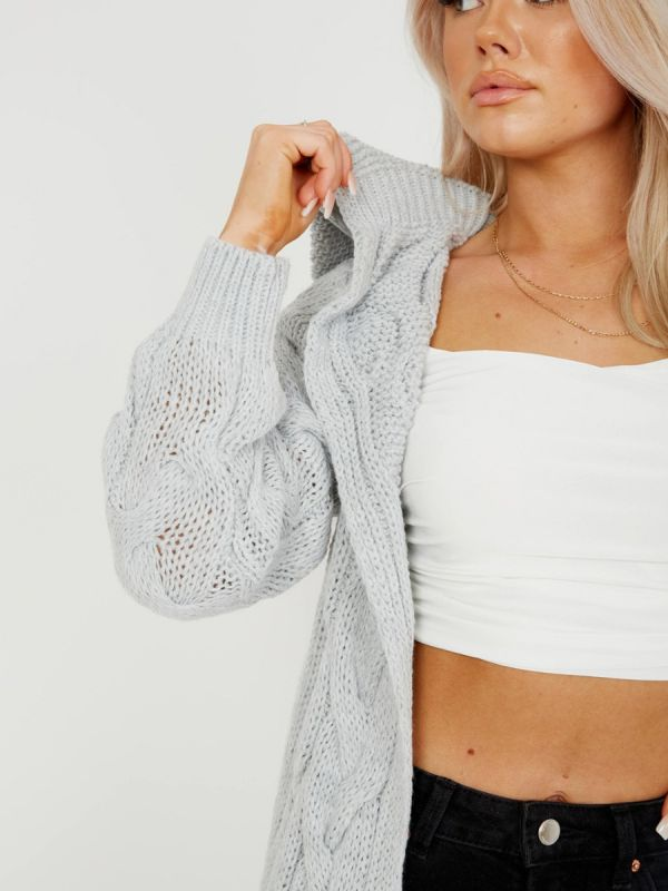 Melanie Cable Knit Detail Hooded Cardigan In Grey