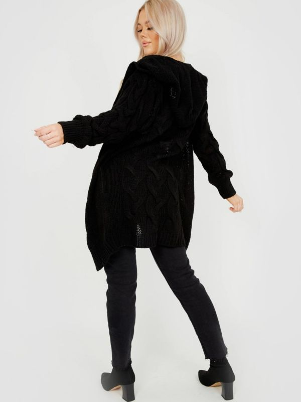 Melanie Cable Knit Detail Hooded Cardigan In Black
