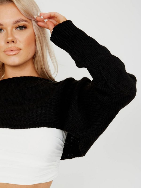 Darren Cable Knit Sleeve Cropped Knitted Jumper In Black