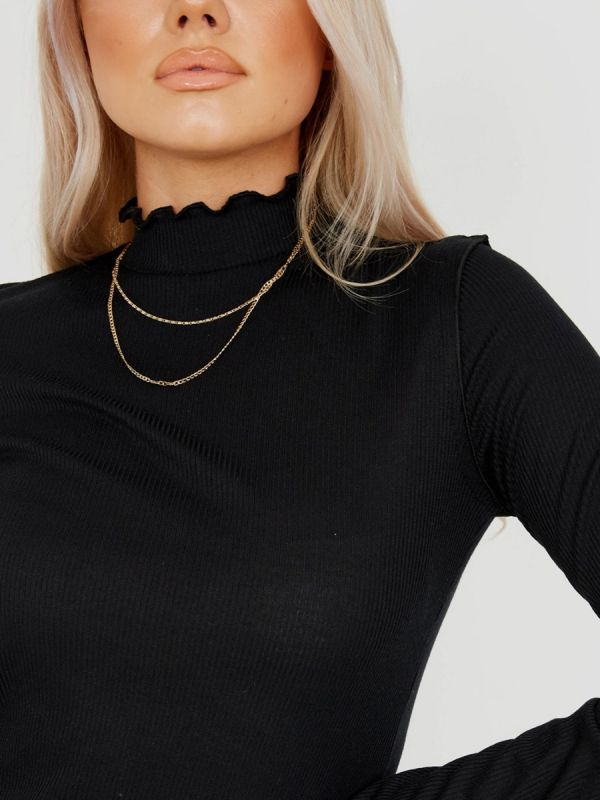 Michelle Ribbed Frill High Neck Top In Black