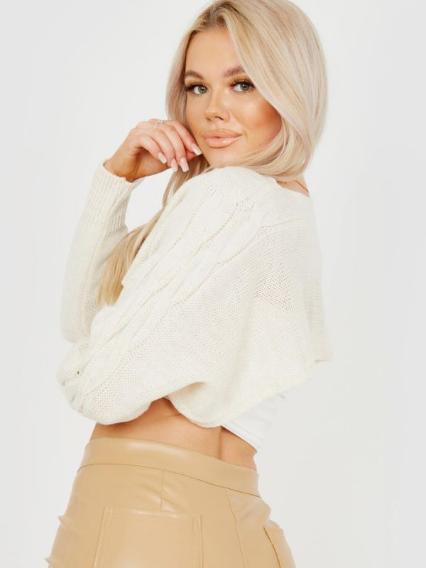 Darren Cable Knit Sleeve Cropped Knitted Jumper In Stone