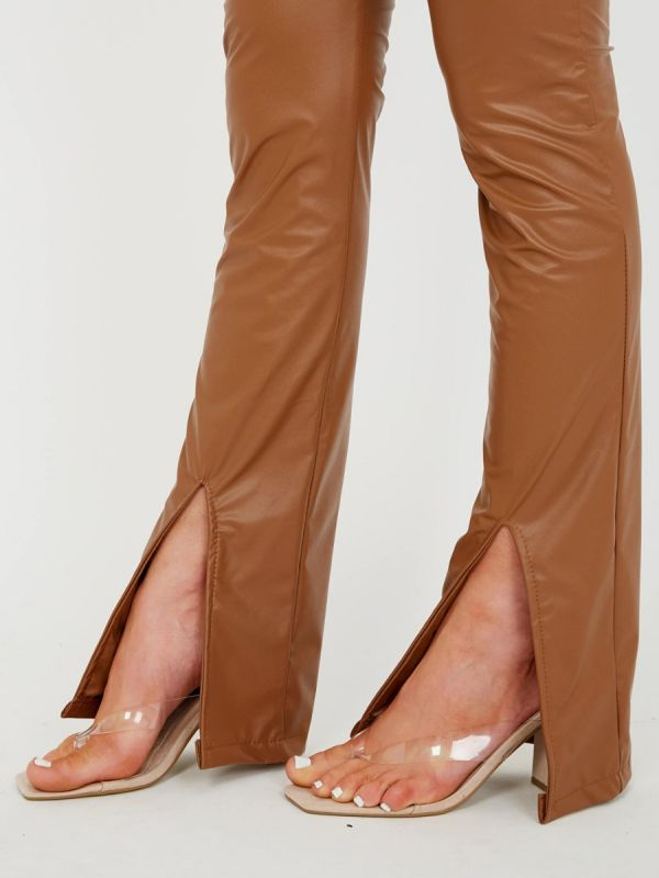 Marta Front Split Hem Flared PU Trouser In Camel