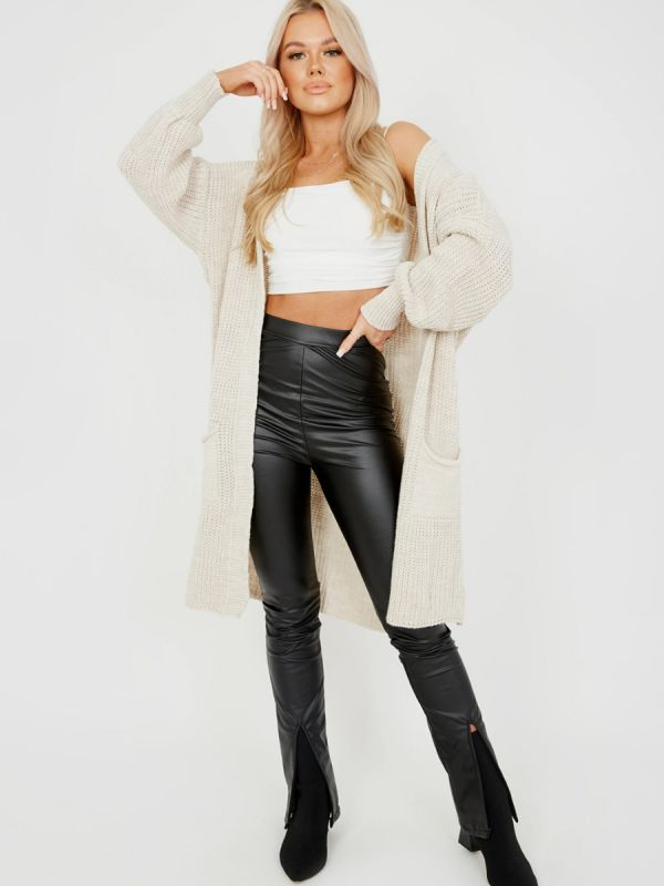 Mollie Mid-Length Knitted Open Cardigan In Stone