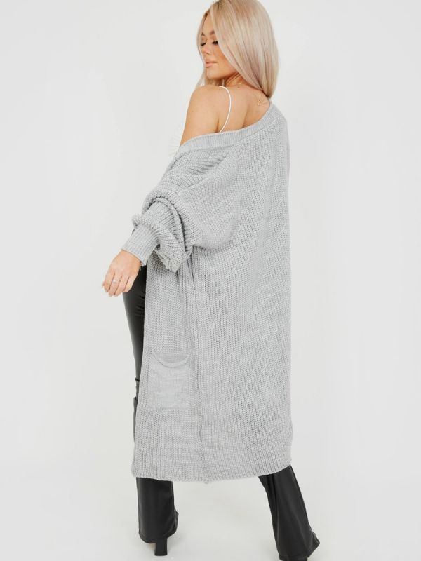 Mollie Mid-Length Knitted Open Cardigan In Grey