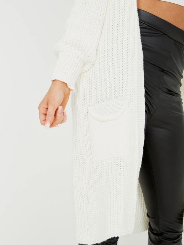 Mollie Mid-Length Knitted Open Cardigan In Cream
