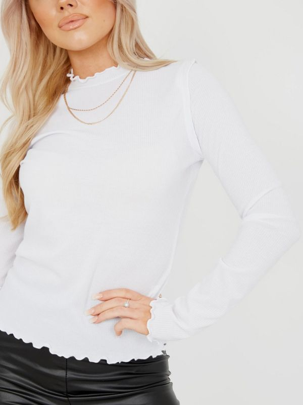 Michelle Ribbed Frill High Neck Top In White
