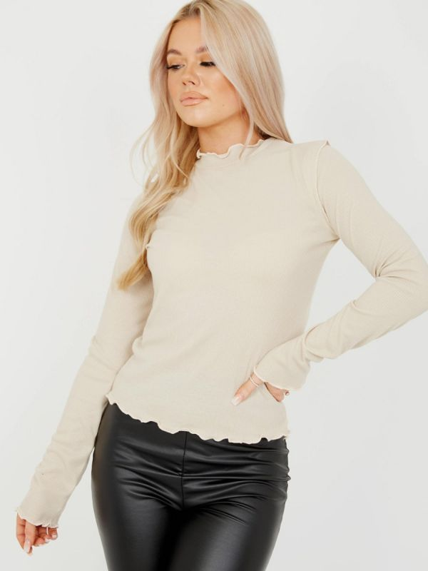 Michelle Ribbed Frill High Neck Top In Stone
