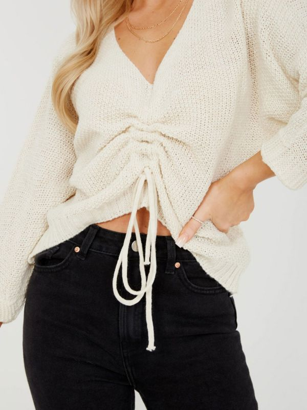 Ryan Ruched Drawstring Front Knitted Top In Stone