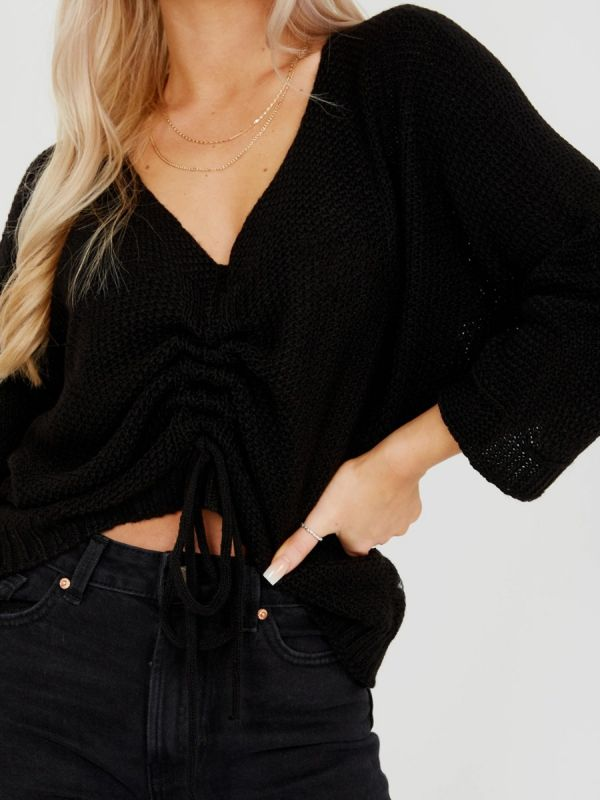 Ryan Ruched Drawstring Front Knitted Top In Black