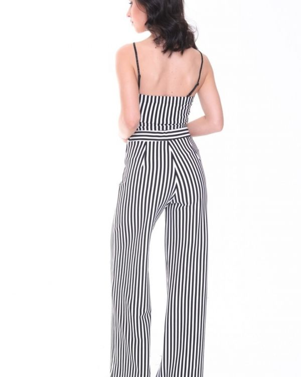 Sylvia Striped Crop Top & Trouser Set In Monochrome