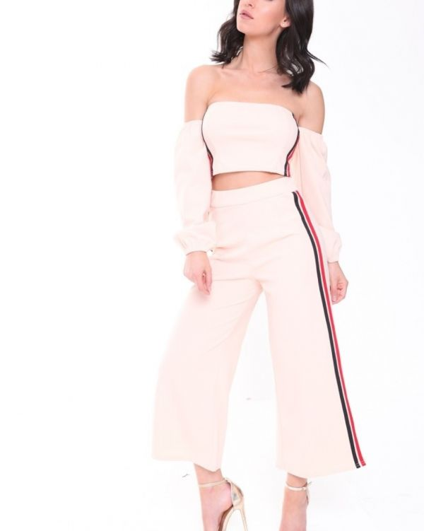 Danna Side Stripe Crop Top & Trouser Co Ordinate In Nude