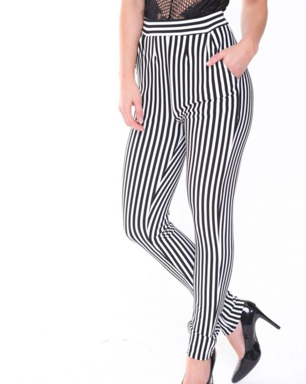LAYLA BLACK AND WHITE STRIPE TROUSERS IN MONOCHROME
