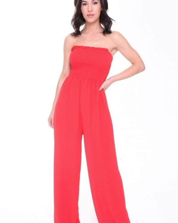 Hattie Bandeau Sheering Jumpsuit In Red