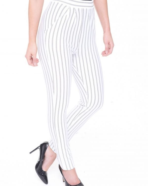 Sammie High Waist Pinstripe Trousers In White