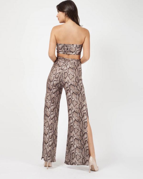 Emmy Snake Print Bandeau & Trouser Co-ord In Brown