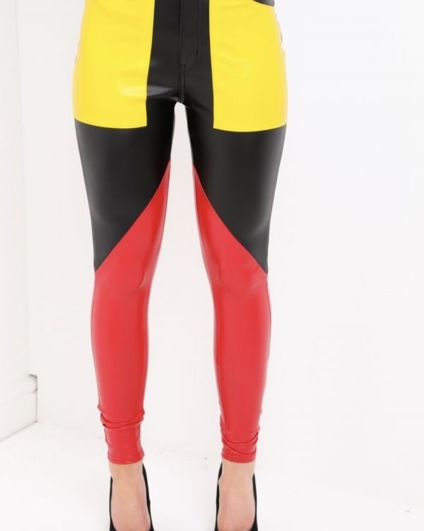 Cecilia Faux Leather Colour Block Trousers In Black & Yellow