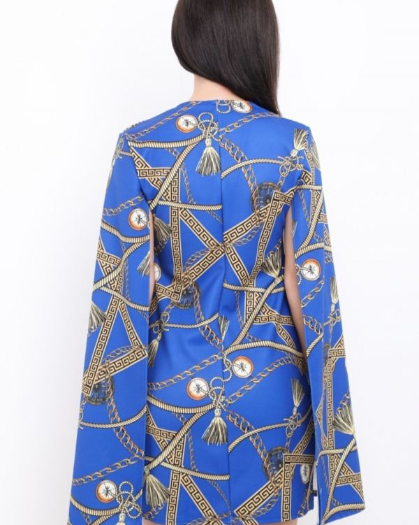 **Olivia Buckland** Adalynn Baroque Split Sleeve Blazer Dress In Royal Blue