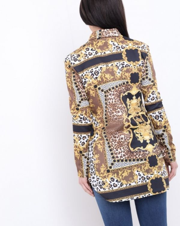 Alayna Leopard Scarf Print Blouse In Gold