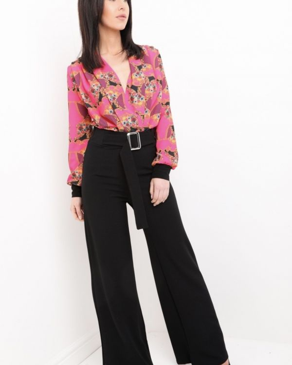 Emerson Wide Leg Buckle Trouser In Black