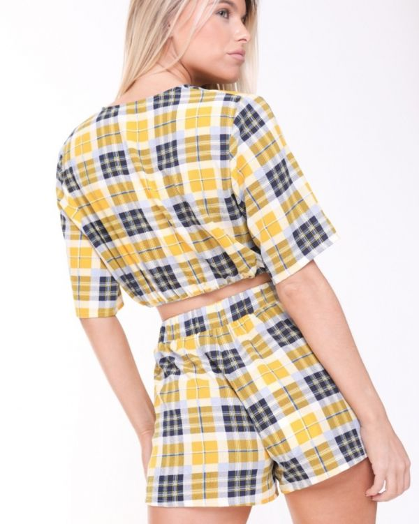 Aviana Chequered Wrap Front Co Ord In Yellow