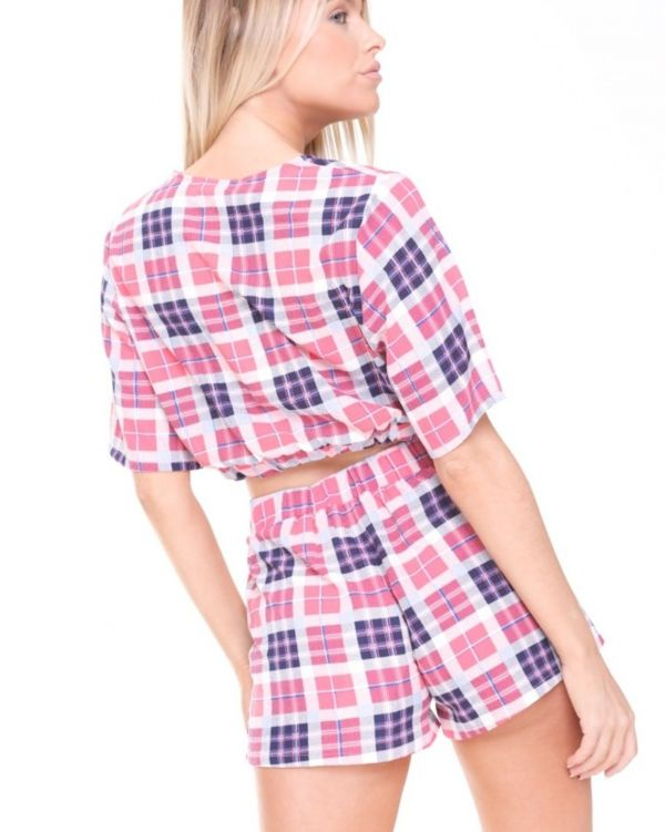 Aviana Chequered Wrap Front Co Ord In Pink