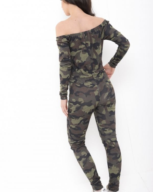 Hope Split Knee Jumpsuit In Camouflage Green