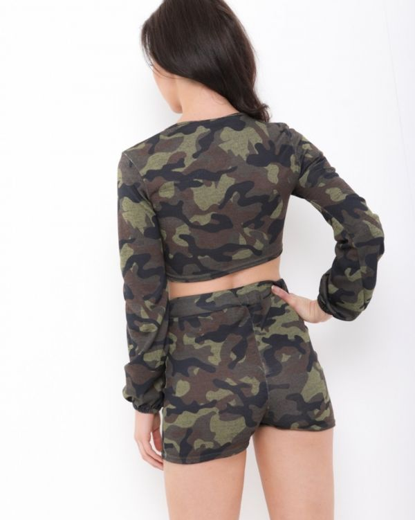 Ember Tie Crop Top And Shorts Co-Ord In Camouflage Green