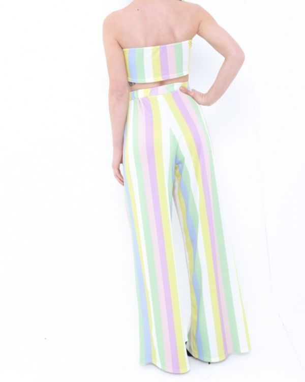 Delphine Multi Coloured Stripe Bralet And Trouser Co-ord In Multi