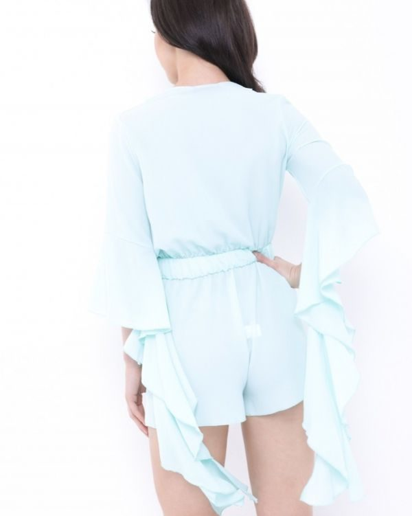 Fiona Frill Sleeve Playsuit In Turquoise Blue