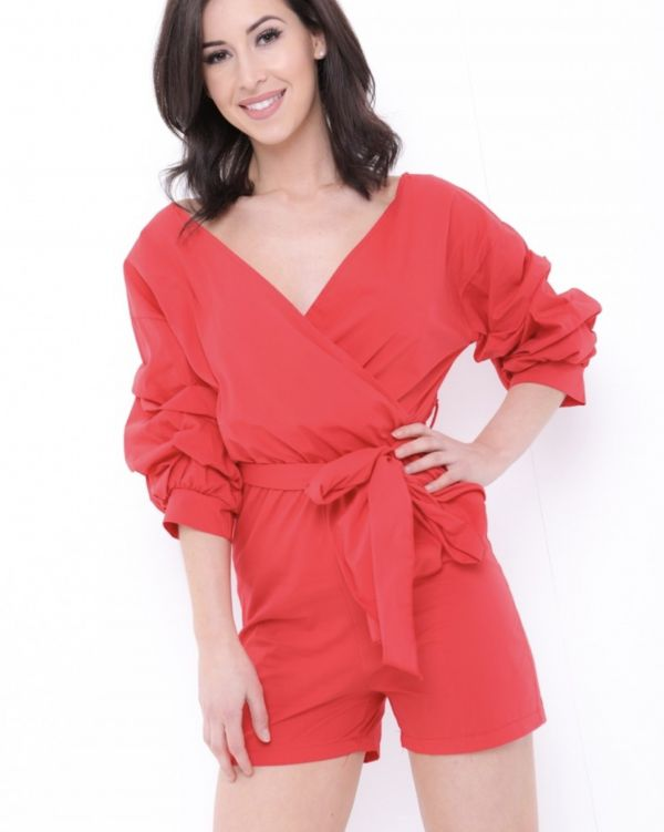 Sienna Wrap Front Ruffle Sleeve Playsuit In Red