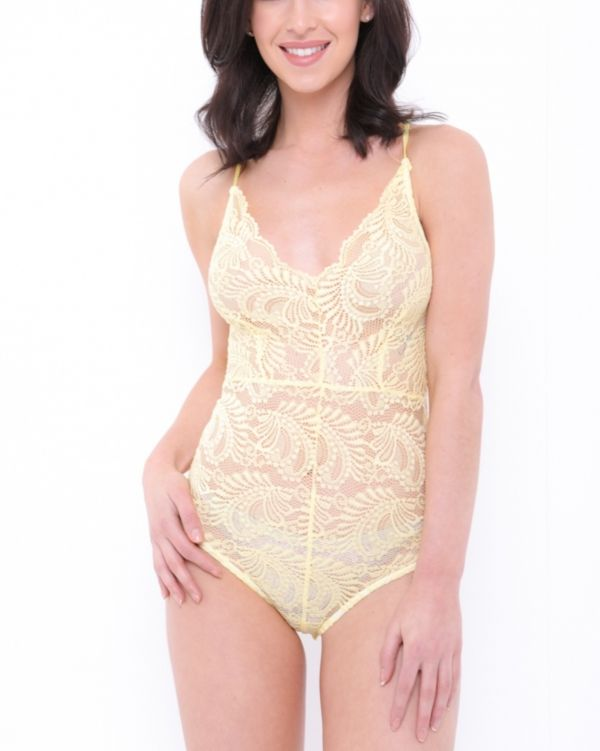 Daisy Scallop Lace Cross Back Strappy Bodysuit In Yellow