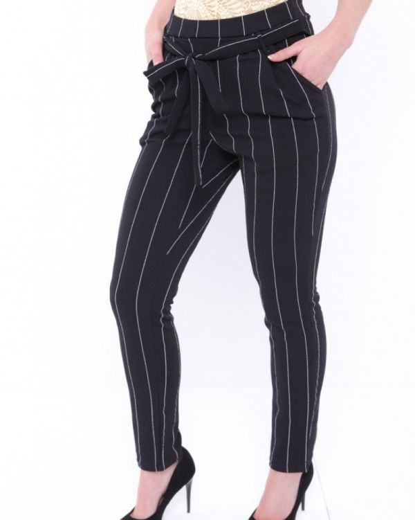 Nimia Tie Waist Pinstripe Trousers In Black
