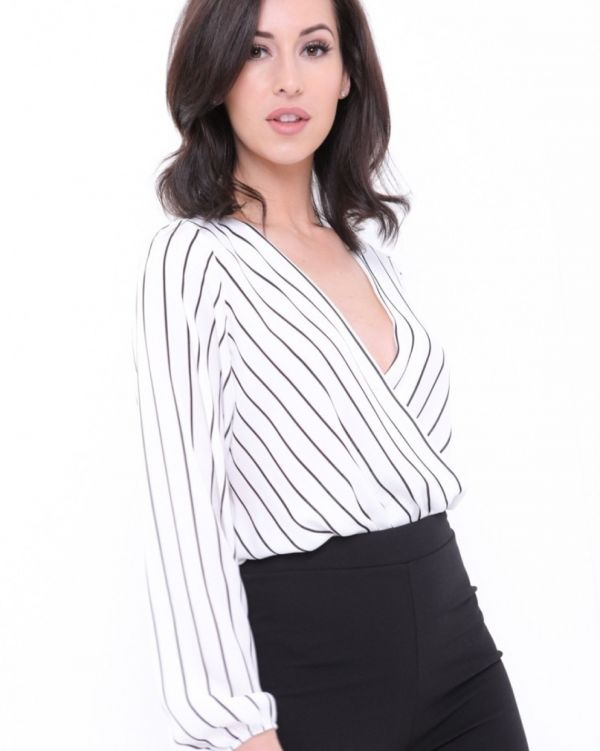 Angela Wrap Front Striped Chiffon Bodysuit In White
