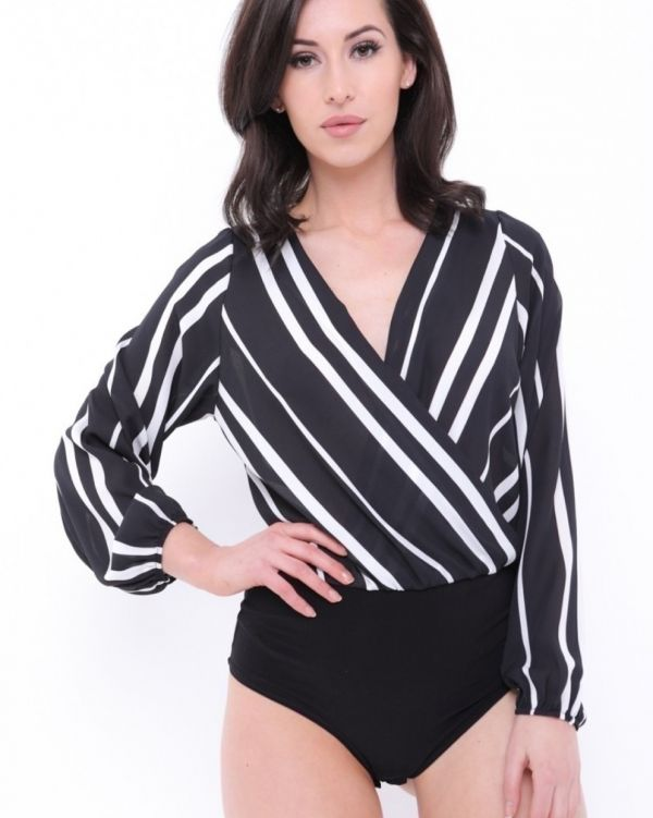 Gracelynn Wrap Front Striped Chiffon Bodysuit In Black