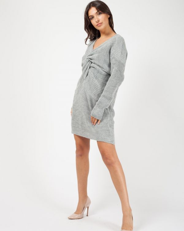 Jamila Twist Front Knitted Jumper Dress In Grey