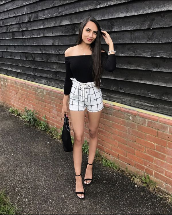 Kaitlyn Grid Check Paper Bag Shorts In White