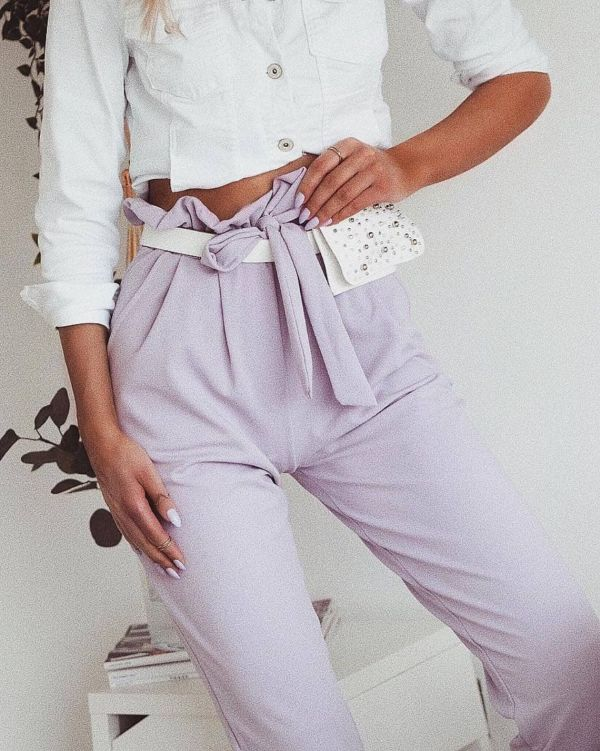 Amanna Paper Bag Style Trousers In Lilac