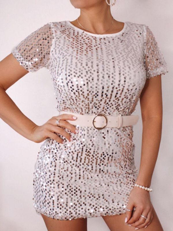 Alisa Sequined Shift Dress In White
