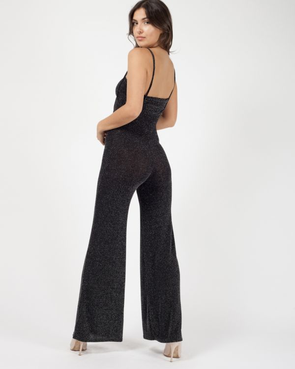 Rebecca Lurex Bandeau & Jumpsuit Co-ord In Black