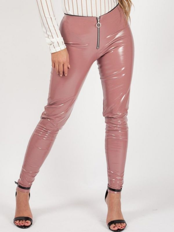 Nessa Zip Front Vinyl PU Leggings In Rose