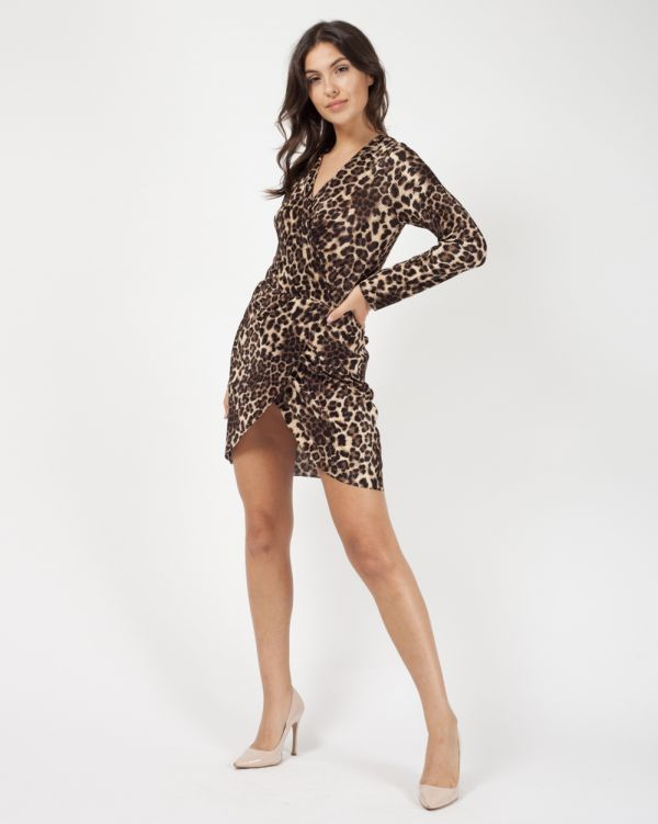 Daria Leopard Print Pleated Wrap Mini Dress In Brown