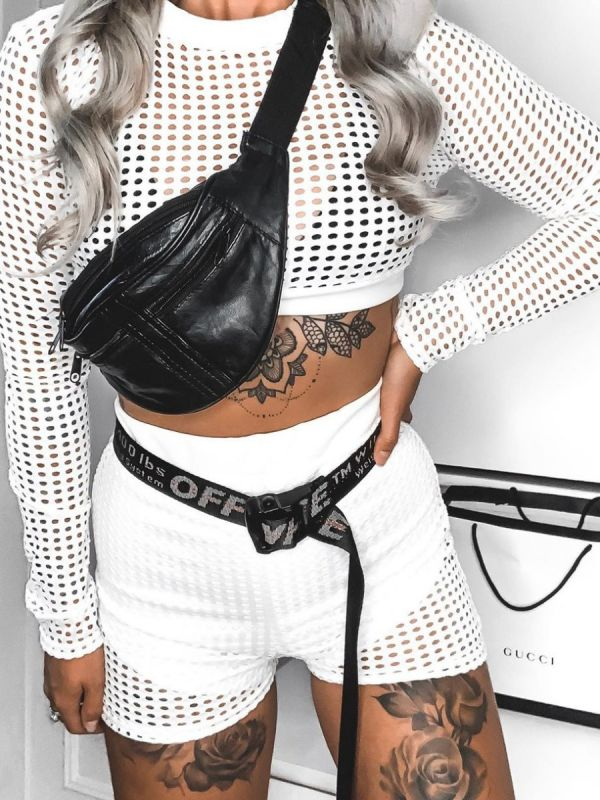 Jade Crochet Shorts & Top Co-ord Set In White