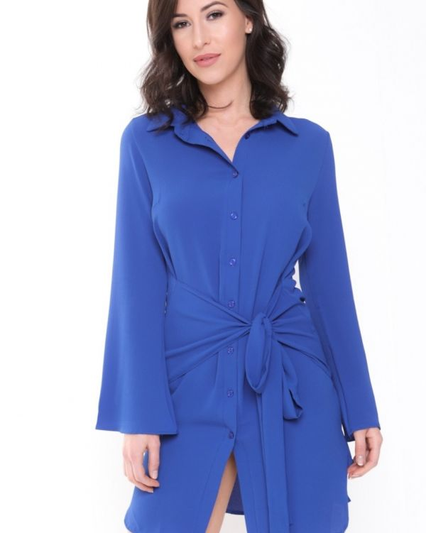 Anaya Bow Tie Shirt Dress In Royal Blue