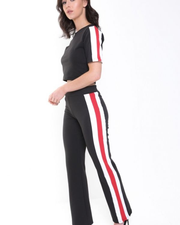 Paislee Side Striped Loungewear In Black